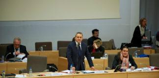 Xavier Bertrand, le président Les Républicains de la région, lors de la séance d'installation du conseil. Crédit: Andia
