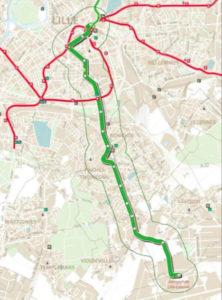 Le tracé indicatif du tramway entre Lille et l'aéroport de Lesquin tel que présenté lors des voeux à la presse du président de La MEL en janvier 2017.