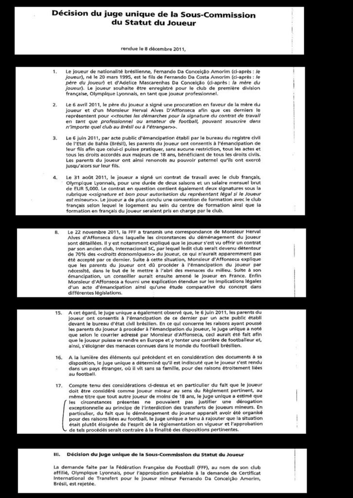 Décision du juge unique de la sous-commission du statut du joueur, rendue le 8 décembre 2011© EIC.