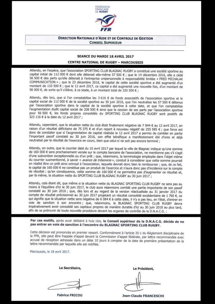 Extraits de la décision de la DNACG.