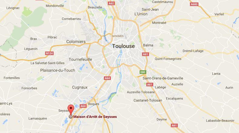 La prison de Seysses, au sud de Toulouse. Capture d'écran de Google Maps.