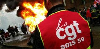 """Les pompiers professionnels du Nord sont en grève """"illimitée"""" depuis le début juin. En cause, l'austérité budgétaire qui s'est traduite par une baisse des effectifs. Photo: cgtsdis59"""