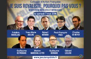 Affiche d'un colloque de l'Action française dans lequel intervenait Guillaume Bernard, le 7 mais 2016