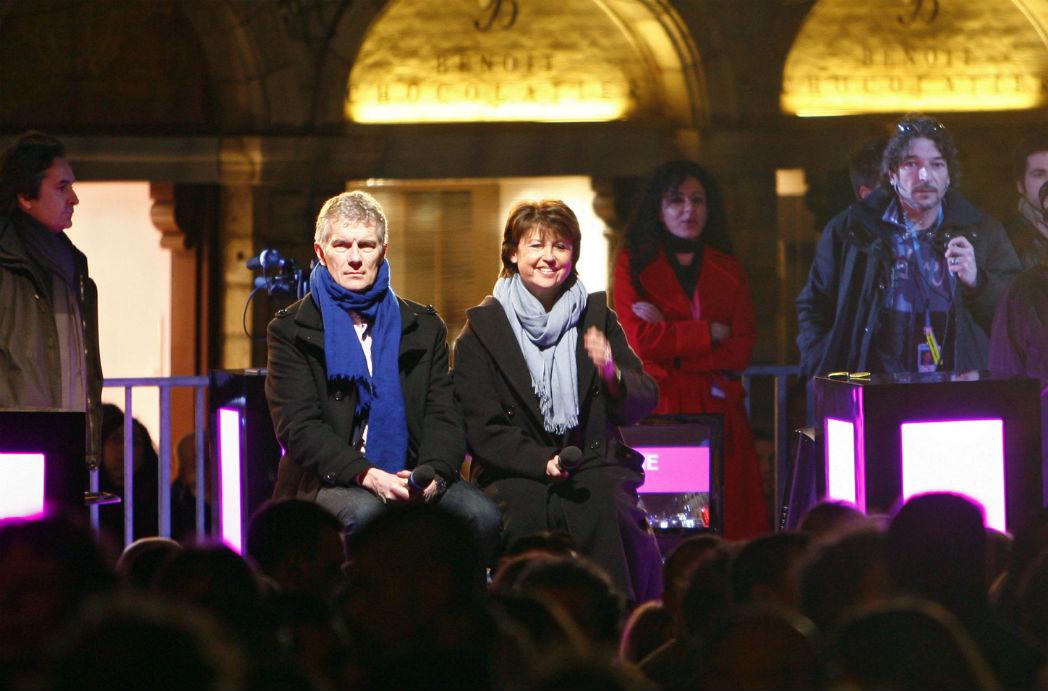 La maire de Lille, Martine Aubry, et Didier Fusillier, directeur général de Lille 3000, à la soirée d'ouverture d'Europe XXL, 2e édition du festival Lille3000, le 14 mars 2009. Photo: Andia
