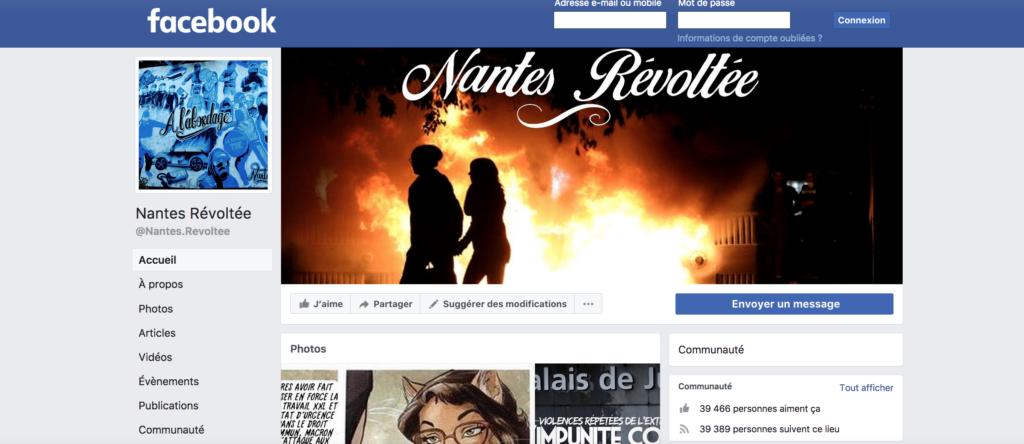 Capture d'écran de la page Facebook de Nantes Révoltée