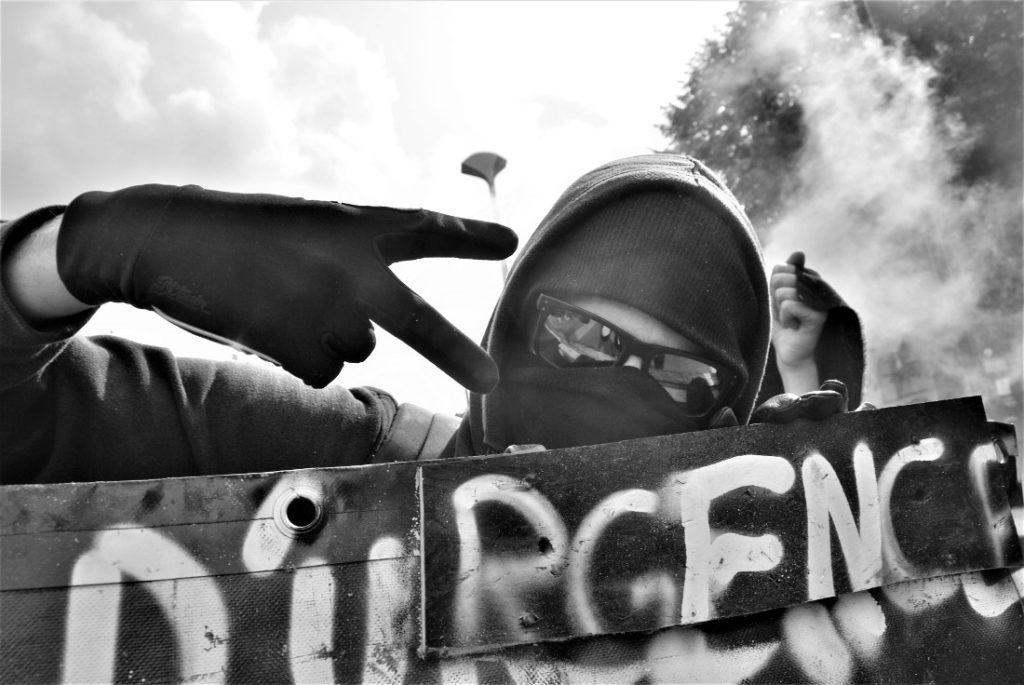 """Manifestant du cortège de tête anonymisé / Photo: """"Camille"""" dans le cortège"""