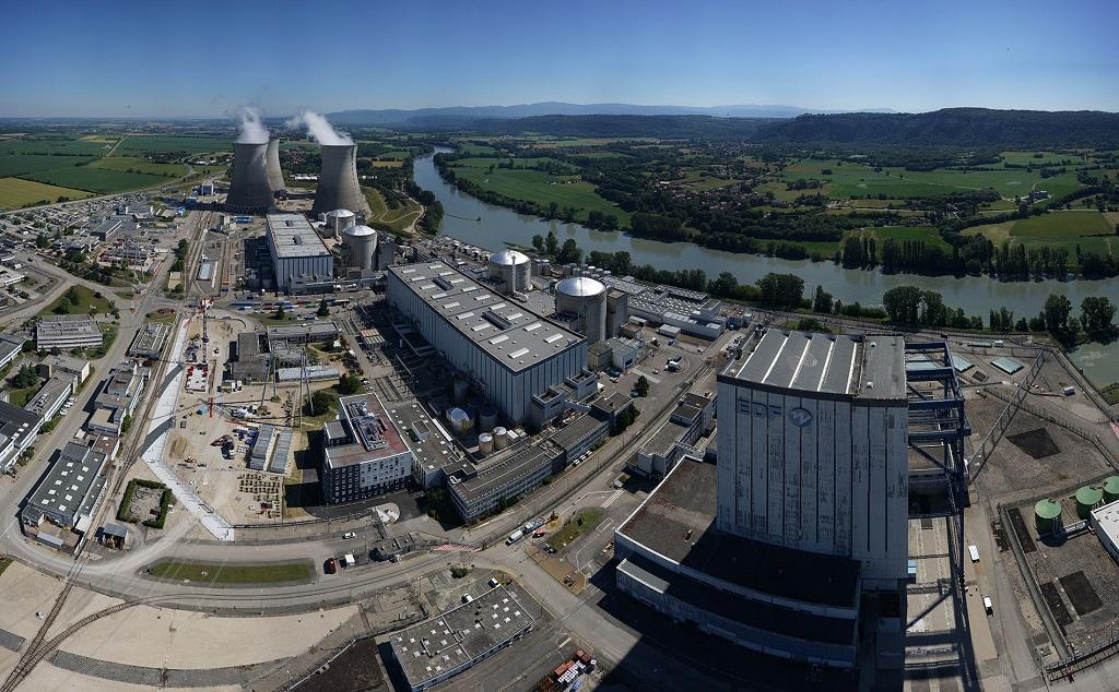 Vue aérienne de la centrale nucléaire du Bugey, avec au premier plan à droite, le réacteur 1. Photo : EDF.