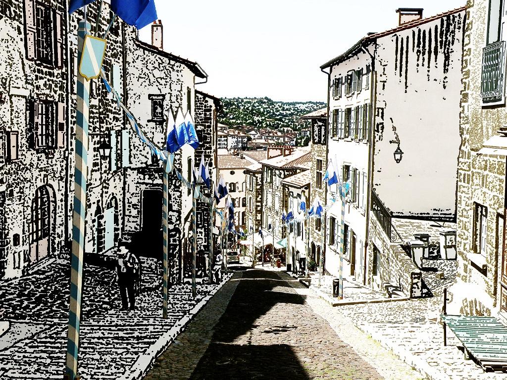 Dans les rues pavées du Puy. CC/N.Certes.