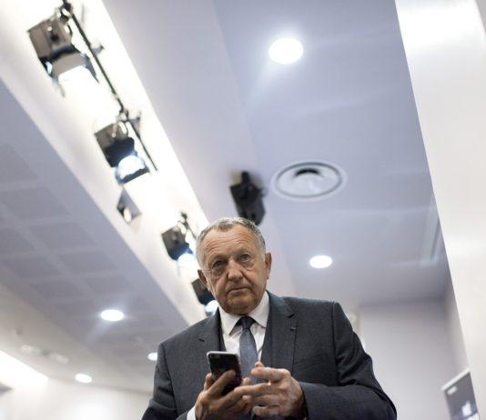 Conference de presse de Jean-Michel Aulas lors de la visite du Grand Stade du Parc Olympique Lyonnais a Decines-Charpieu (69) le 07/01/2016