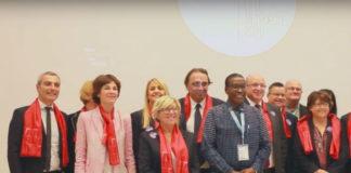 Le jour de la désignation de Lille comme ville mondiale du design 2020, Philippe Rémignon, président de l'association Lille design, et Caroline Naphegyi, directrice générale, se trouvaient encore côte à côte (à gauche de la photo). Capture d'écran.