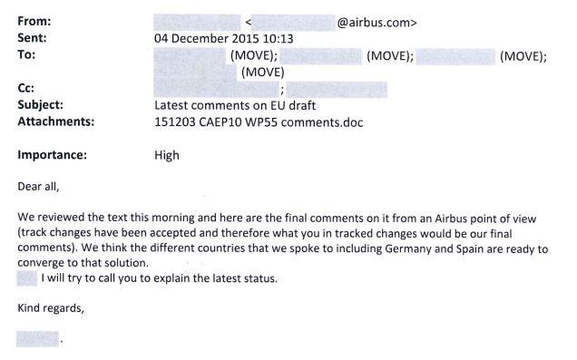 Echange de courriels entre la direction des transports de la Commission européenne et Airbus.