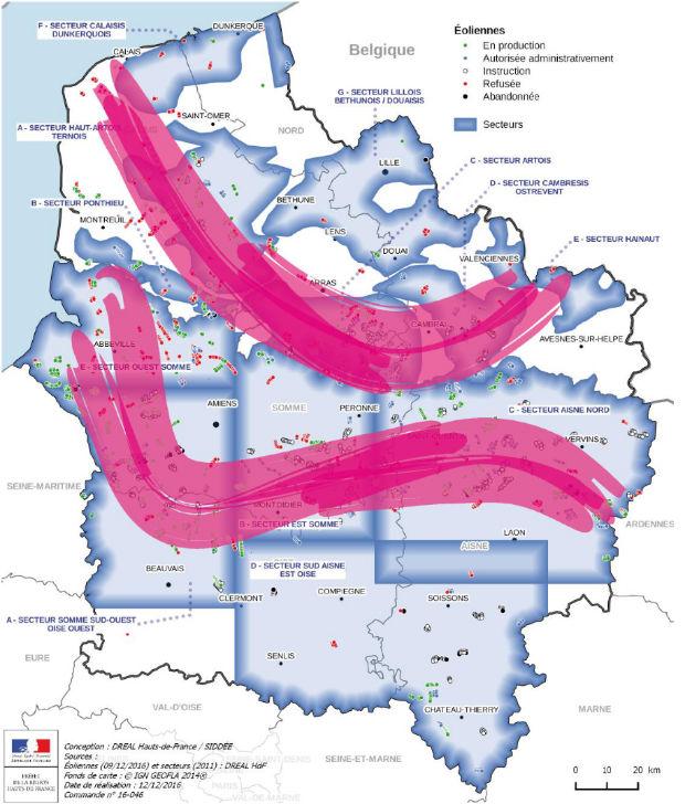 Carte du développement des deux axes majeurs du développement de l'éolien dans les Hauts de France. Carte : Dreal / Sidée