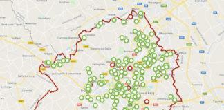 Carte des décisions de la Commission Départementale d'Aménagement Commercial sur le territoire de la Métropole européenne de Lille entre 2000 et 2016. En vert : accord; en rouge : refus. Réalisée par Axe Culture