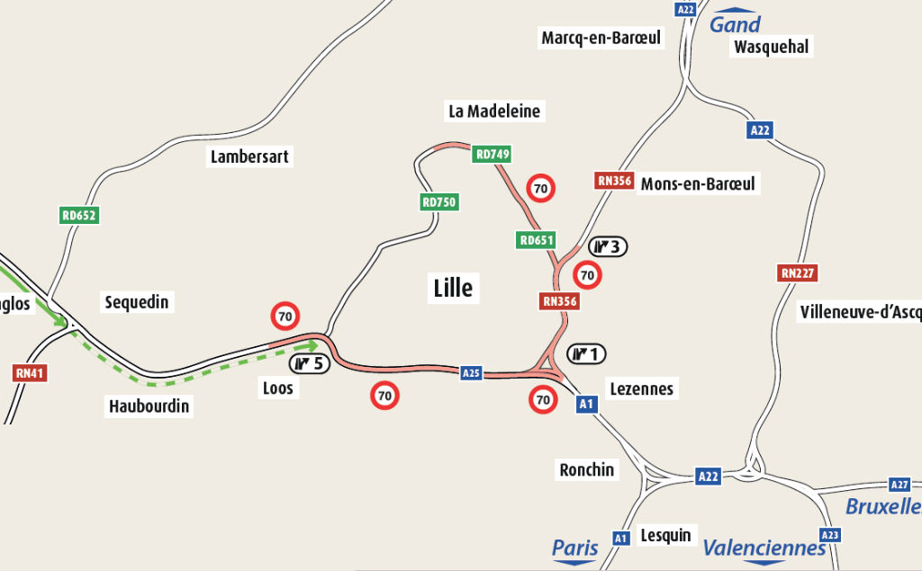 A partir du 2 février, la limitation de vitesse sera de 70 km/h sur une partie du périphérique lillois.