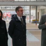 Johanna Rolland, Olivier Laboux et Francky Trichet lors d'unevisite des ex-Halles Alstom en mars 2019 © Thibault Dumas2