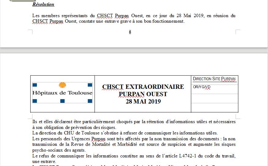 Extrait CHSCT 28 mai 19