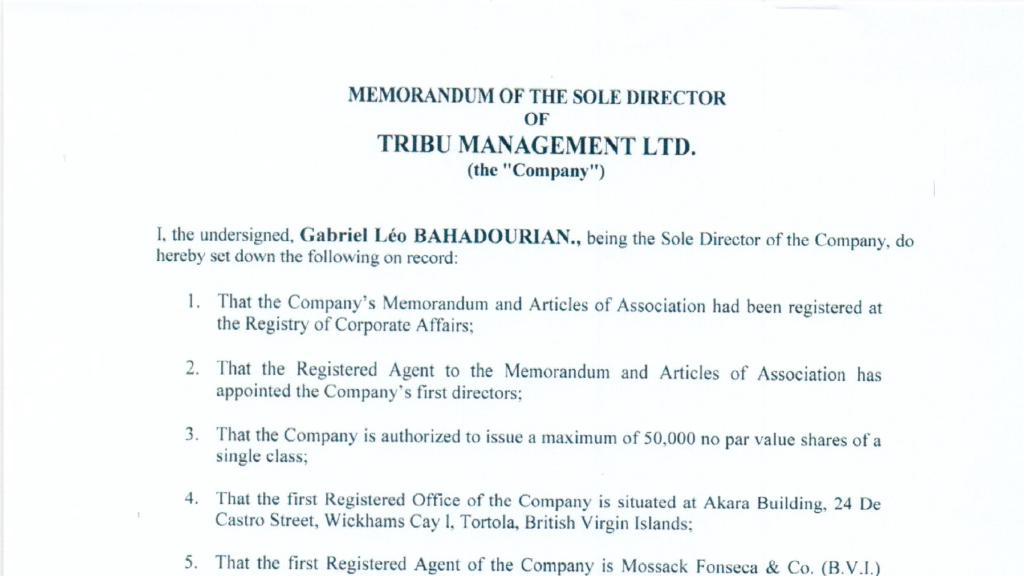 PP -Memorandum Tribu Management Ltd BVI