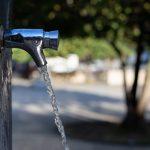 Un robinet dans un jardin public à Lyon