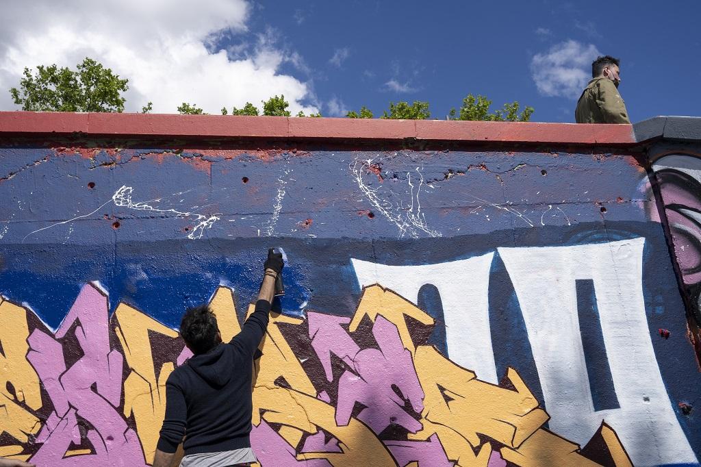 Street-artiste au Skate-Park Foch et arbres de la place Maréchal Lyautey, Lyon