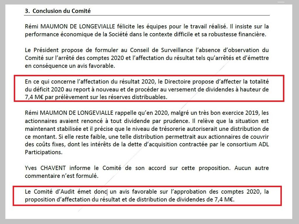 Capture écran PV Comité daudit de Aéroports de Lyon – 28 juin 2021