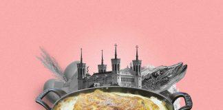 Une composition d'images montrant un plat de quenelles au brochet en premier plan. Derrière, on aperçoit la cité des Papes ainsi que les ingrédients phares composant le plat : un brochet, du blé (pour la farine), des oeufs, du fromage et du beurre.