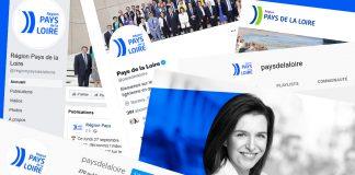 L'affiche de Christelle Morançais et les comptes sociaux de la Région (c) Photomontage Thibault Dumas