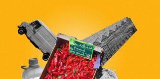 Une image d'illustration présentant une cagette de piments au premier plan. Derrière, on aperçoit une camionnette, un ensemble de serres à légumes, un bidon de pesticides et une vache.